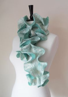 Felted Scarf Ruffle Collar Felt Ruffle Scarf Neck Warmer Teal Green Aqua Seafoam Super Soft Fashion Scarves - Gift for her under 45 on Etsy, $48.29