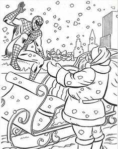Christmas Coloring, Spiderman Coloring Pages Christmas With Santa: Spiderman Coloring Pages Christmas With SantaFull Size Image