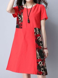 Vintage Floral Patchwork Pocket Short Sleeve Women Dresses