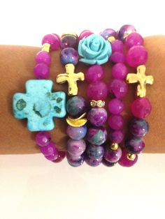 Cross Rose Bead Bracelets Set of 5 Turquoise Teal Purple Pink. $60.00, via Etsy.