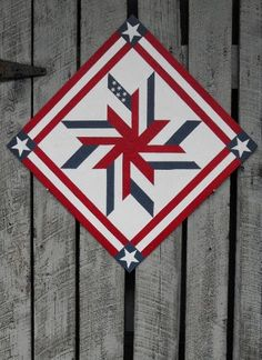 Painted Wood Barn Quilt Liberty Star Pattern by TheBarnQuiltStore Barn Quilt Designs, Barn Quilt Patterns, Star Patterns, Quilting Designs, Star Quilts, Quilt Blocks, Scrappy Quilts, Painted Barn Quilts, Painted Wood