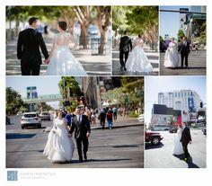 Bride and Groom walking down the Las Vegas Strip