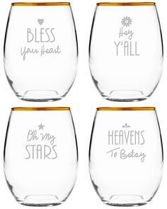 Spotted this Southern Sayings Set of Four 21oz Stemless Glasses on Rue La La. Shop (quickly!).
