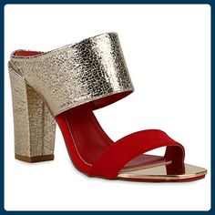 Damen Mules Sandaletten Block Absatz Metallic Lederoptik Schuhe 120844 Rot Gold 40   Flandell® - Sandalen für frauen (*Partner-Link)