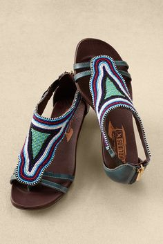 With striking hand-beading designed and sewn by Maasai tribeswomen in Kenya, Pikolinos Alcudia European-made sandals help sustain families and traditional African arts. I like the fun and uniqueness Beaded Shoes, Beaded Sandals, Shoes Sandals, Pearl Sandals, Flats, Fashion Shoes, Fashion Accessories, Tan Leather Sandals, Kenya