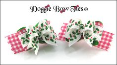 """""""Christmas Holly Gingham"""" Tiny Ties Dog Bows by Doggie Bow Ties!"""