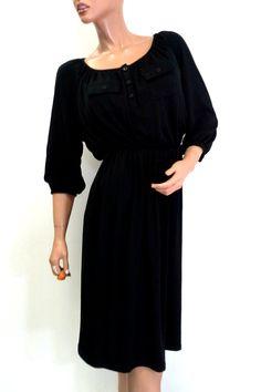 PLUS SIZE DRESS. Long, Ultra-Soft. Two Chest Pockets! Black. - $5 Fashions