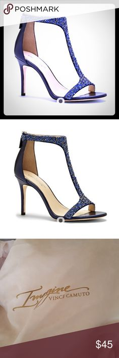 Imagine Vince Camuto Phoebe Simply stunning but a half size too big for me. Style: IM-Phoebe Color: Capri Blue/Indigo Crystak/Pearl Nappa Size 9M worn only once Vince Camuto Shoes Heels