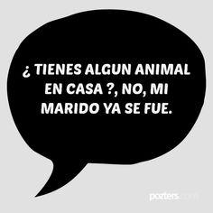 ¿ TIENES ALGUN ANIMAL EN CASA ?, NO, MI MARIDO YA SE FUE.