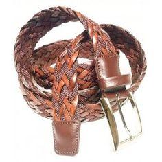 Cinturón trenzado marrón para hombre en tallas grandes