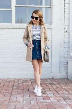 Button-Through Denim Skirt + Converse + Trench