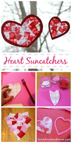 Easy to Make Heart Suncatchers - All you need is contact paper, tissue paper and construction paper to make these beautiful suncatchers. Change the shape and they work for any season. Great for preschool, kindergarten and kids of any age.