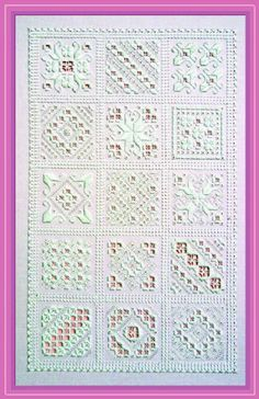 Hardanger SamplerThis sampler is one in the true sense of the word. It can be stitched in its entirety for a splendid display of Hardanger motifs, during the working o. Hardanger Embroidery, Embroidery Stitches, Embroidery Patterns, Hand Embroidery, Cross Stitches, Types Of Embroidery, Learn Embroidery, Bookmark Craft, Drawn Thread