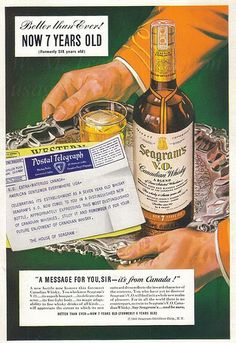 A 1941 advertisement for Seagram's Canadian Whisky. Vintage Ads, Whisky, Whiskey Bottle, Advertising, Alcohol, Drinks, Liquor, Beverages, Whiskey