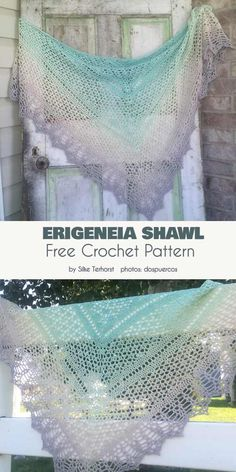 Erigeneia Shawl Free Crochet Pattern Please meet the Erigeneia Shawl, which means 'Early-born' and was inspired by a sunrise. The delicate and elegant texture will be a perfect addition to Beau Crochet, Crochet Prayer Shawls, One Skein Crochet, Crochet Shawl Free, Crochet Gratis, Crochet Shawls And Wraps, Crochet Scarves, Lace Crochet Patterns, Knit Shawl Patterns