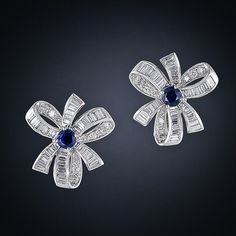 Gift wrap your ears! Diamond and Sapphire Bow Earrings