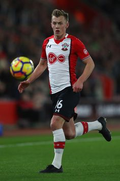 James Ward-Prowse of Southampton during the Premier League match between Southampton and Brighton and Hove Albion at St Mary's Stadium on January 2018 in Southampton, England. Southampton England, Southampton Fc, James Ward Prowse, Brighton & Hove Albion, Premier League Matches, Squad, Saints, January, Running