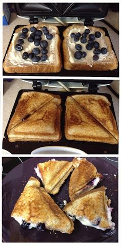 Blueberry Breakfast Grilled Cheese: Cream cheese, powdered sugar, blueberries, and whole-wheat bread! Wish I had one of these sandwich makers! Breakfast Desayunos, Blueberry Breakfast, Breakfast Dishes, Breakfast Sandwiches, Breakfast Ideas, Camping Breakfast Recipes, Brunch Recipes, Breakfast Panini, Cream Cheese Breakfast
