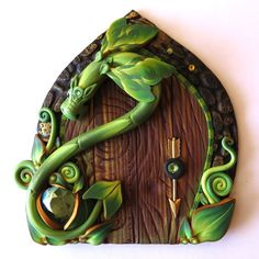 Green Dragon Fairy Door Pixie Portal Miniature Fairy by Claybykim