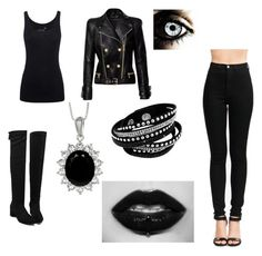 """""""~Goth Chick~"""" by rachel-west99 ❤ liked on Polyvore featuring Balmain, Juvia, goth and gothic"""