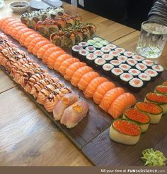All you can eat sushi where each piece is made fresh to order! [oc] via FoodPorn on August 12 2018 at Think Food, I Love Food, Good Food, Yummy Food, Tasty, Sushi Platter, Sushi Party, Sushi Sushi, Fast Food
