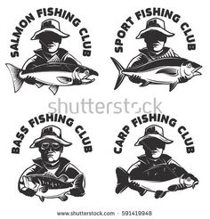 Set of fishing club labels templates. Fisherman silhouette with fish. Design elements for logo, emblem, sign, brand mark. Vector illustration.