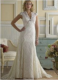 Great Lace Simple Ivory A line V Neck Empire Waist Beading Satin Wedding Dress Orig