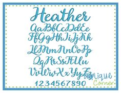 """Heather Embroidery Font .5"""", .75"""", 1"""", 1.5"""", 2"""", 2.5"""", 3"""" sizes"""