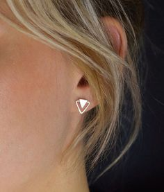 Geometric Stud Earrings  Silver Triangle post by MUKAstudio