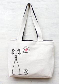 cats in love / shoulder bag / minimalist line drawing / embroidery modern / reusable bags handmade