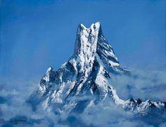 Annapurna Nepal by Nino Ponditerra Your Paintings, Original Paintings, Painting Prints, Art Prints, Painting Art, Mountain Paintings, Mountain Landscape, Nepal, Fine Art America