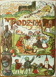 Had not heard of Czech artist, Joseph Lada, until I came across some of his illustrations (like tiny book pages) in a small shop in Prague. Bloom Book, Xmas Cards, Vintage Images, Illustrators, Folk Art, Fairy Tales, Retro, Drawings, Artist