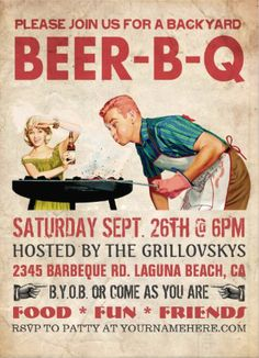 Vintage retro #beer-b-q_invitations. Fun and rustic. Great for an outdoor bbq. Easy to customize!