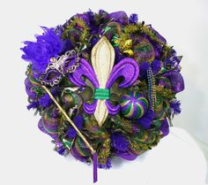 Mardi Gras Fleur de Lis with Mardi Gras Mask by Crazyboutdeco