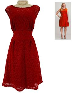 18W 2X SEXY Womens RED LACE FIT & FLARE DRESS Special Occasion Summer PLUS SIZE #Dressbarn #FitFlare #SpecialOccasion