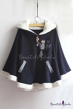 Popular Hooded Cat Embroidery Patchwork Contrast Hem Woolen Cape with Button