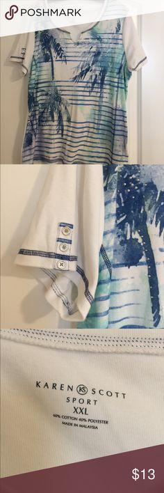 Karen Scott Palm Tree inspired t-shirt Karen Scott gorgeous thick t-shirt. Well made and great for a casual Sunday or any day. Karen Scott Tops Tees - Short Sleeve