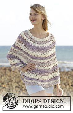 Poncho rendado DROPS em croché, em Big Merino. Crocheta-se de cima para baixo. Do S ao XXXL. Modelo gratuito de DROPS Design.
