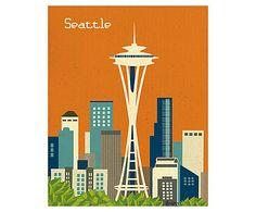 Affiche Seattle papier tissé, Multicolore - H26