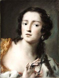 """Rosalba Carriera, Caterina Sagredo Barbarigo come """"Bernice"""", collezione privata. Pastello. 1741 ca."""