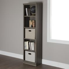 This classic style shelving unit provides some handy storage solutions for your books and best looking decorative items. An elegant piece, polished but low-key, that works well in the living room or bedroom. Fits comfortably in a tight space.