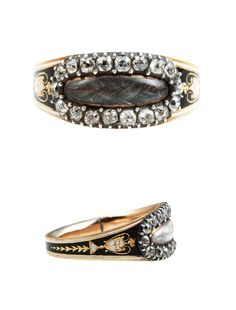 """Georgian Old Mine Cut Diamond Mourning Ring. Georgian enamel and old mine cut diamond mourning ring with black and white urn detail on shank. Braided hair behind the crystal. """" A Dunlap Died 8th June 1803 Age 54"""". Circa 1800, English in Origin."""