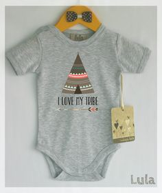 I love my tribe baby clothes. Tribal baby bodysuit. Modern baby clothes.  Gift giving? Please contact us and we will send you customized card with the same character as the one on the ordered romper FREE of charge. --------------------------------------------------------------------------------------------- Fabric content: 100% cotton Professional grade super soft transfers which are perfect for the little ones…