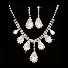 """Bridal Wedding Jewelry Set Crystal Rhinestone Dangling Teardrops Silver Accessoriesforever. $16.95. Material: Clear Crystal Rhinestones, Metal Casting, Rhodium / Silver Plated. Dimensions (Size): Necklace Length: 13"""" + 6"""" Extender (Lobster Claw Closure); Earrings: Approx. 1.5"""" Drop x 0.5""""W (Post Back Closure). Style: Dangling Teardrops, Prong Set. Quantity: 1 set includes 1 necklace and matching earrings. Color: Silver, Clear. Nickel & Lead Free"""