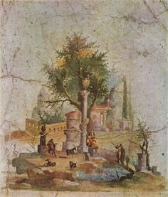 Da Boscotrecase, Villa di Agrippa Postumo. Quadro centrale di una parete rossa, rappresentante un paesaggio idillico-sacrale.
