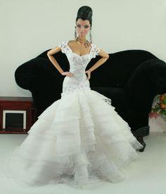 APHRODAI Fashion for FR Royalty Silkstone Barbie Model Gown Outfit Dress Wedding Bride. $59.99, via Etsy.