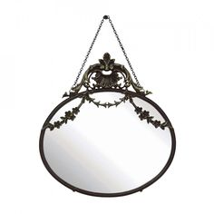 Oglinda din sticla 27 cm Topas Bloomingville Topas, Oval Mirror, Wall Mounted Mirror, Antique Pewter, Rustic Style, Decorative Accessories, Living Spaces, Hardware, Antiques