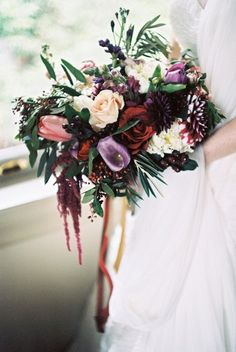 Marsala and purple bridal bouquet ⎪Jonathan Kohn⎪see more on: http://burnettsboards.com/2015/09/demure-southern-wedding-home/