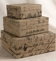 covered boxes (inspiration only) - would be easy to make by covering boxes with burlap that has been stamped with black paint using word stamps - just have to trim carefully to allow for closure and still cover Burlap Projects, Burlap Crafts, Diy Projects, Save On Crafts, Crafts To Make, Diy Crafts, Burlap Lace, Hessian, Altered Boxes