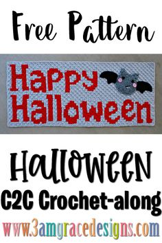 Our Halloween crochet pattern & tutorial for a lap sized graphgan blanket. This week is the Banner with two options, either a bat or spider! Crochet Fall, Holiday Crochet, Crochet Home, Crochet Afgans, C2c Crochet, Free Crochet, Corner To Corner Crochet Pattern, Halloween Blanket, Single Crochet Decrease
